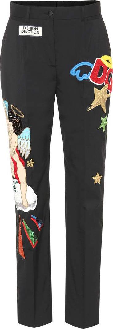 Dolce & Gabbana Appliquéd stretch wool pants