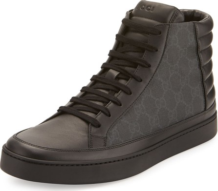 Gucci Men's Common Canvas & Leather High-Top Sneakers
