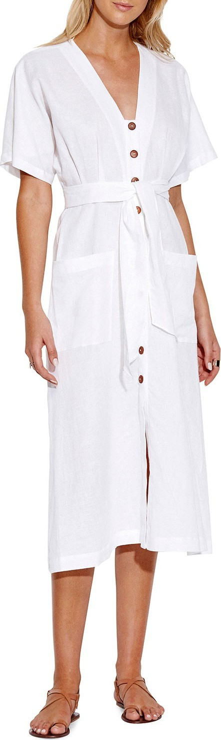 Seafolly Tassel-Tie Button Front Midi Dress