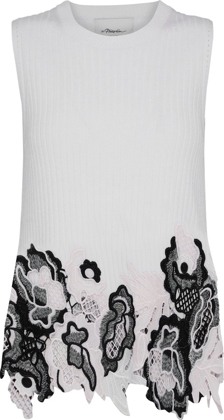 3.1 Phillip Lim Guipure lace and ribbed wool-blend top