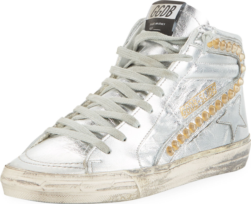 Golden Goose Deluxe Brand - Slide Metallic High-Top Sneakers