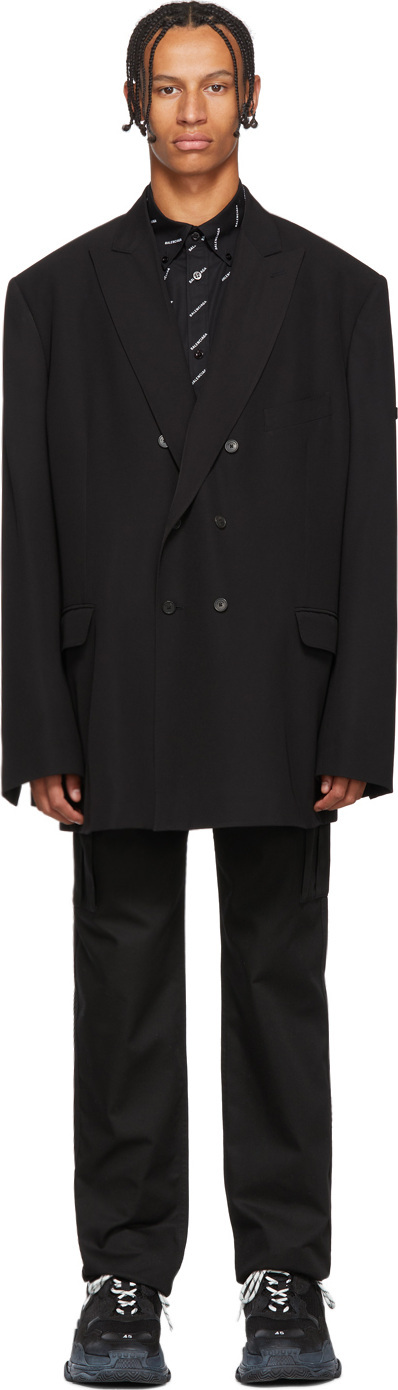 Balenciaga Black Double-Breasted Logo Blazer