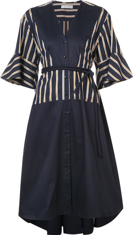 Palmer / Harding Striped flounce sleeve midi dress