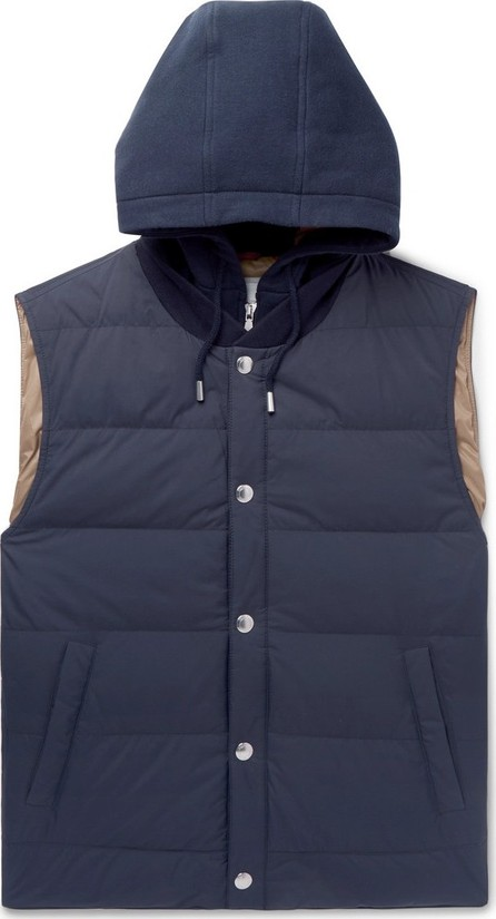 Brunello Cucinelli Layered Quilted Shell and Stretch-Cotton Jersey Hooded Down Gilet