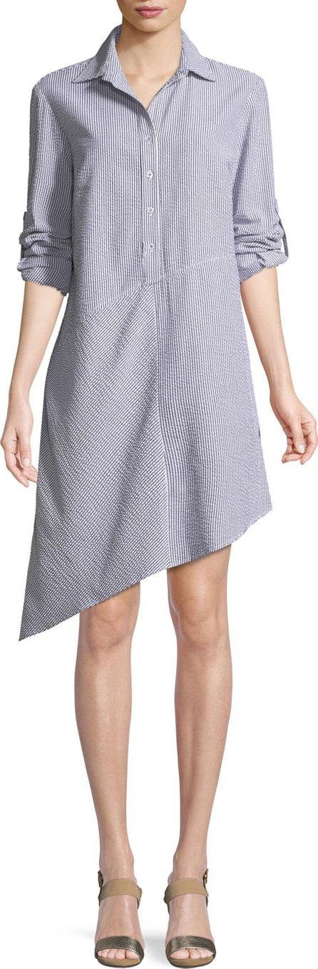 Finley Collared Striped Seersucker Asymmetric Shirtdress