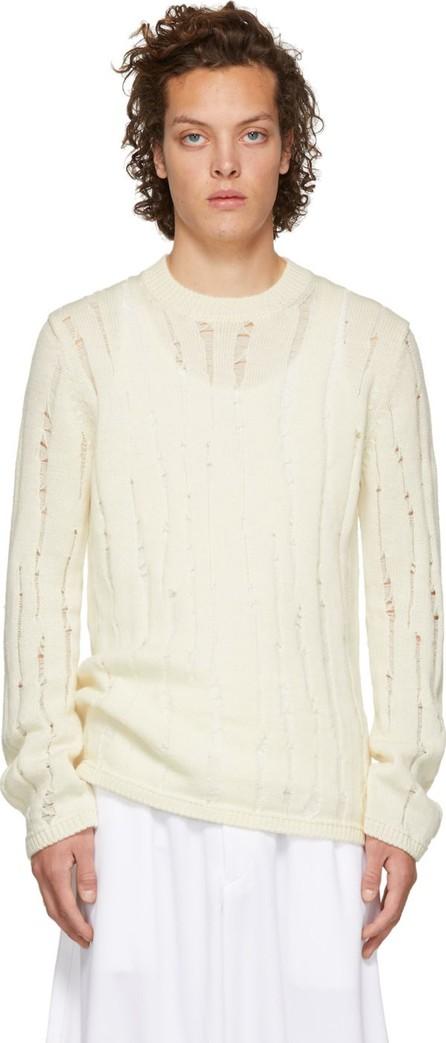 Comme Des Garçons Homme Plus Off-White Wool Splash Sweater