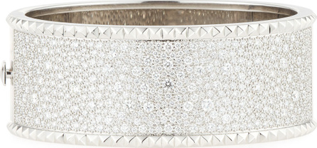 Roberto Coin ROBERTO COIN ROCK & DIAMONDS Wide 18K White Gold Bangle with Diamonds