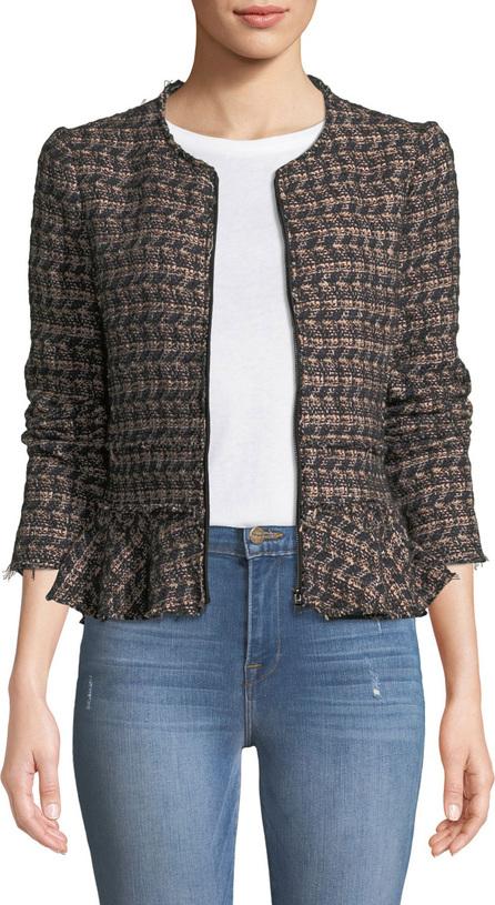 Rebecca Taylor Zip-Front Tweed Peplum Jacket