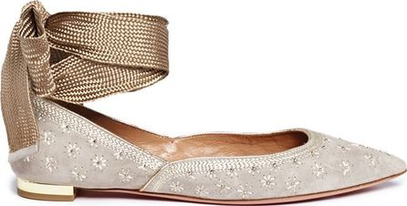 Aquazzura 'Bliss Ballet' ankle tie star embroidered suede skimmer flats