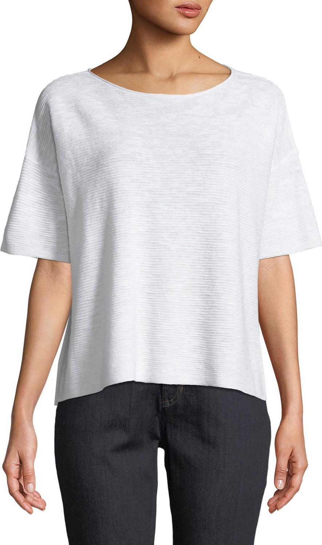 Eileen Fisher - Cotton-Linen Slub Half-Sleeve Box Top