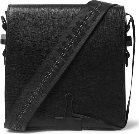 Off White Cross-Grain Leather Messenger Bag