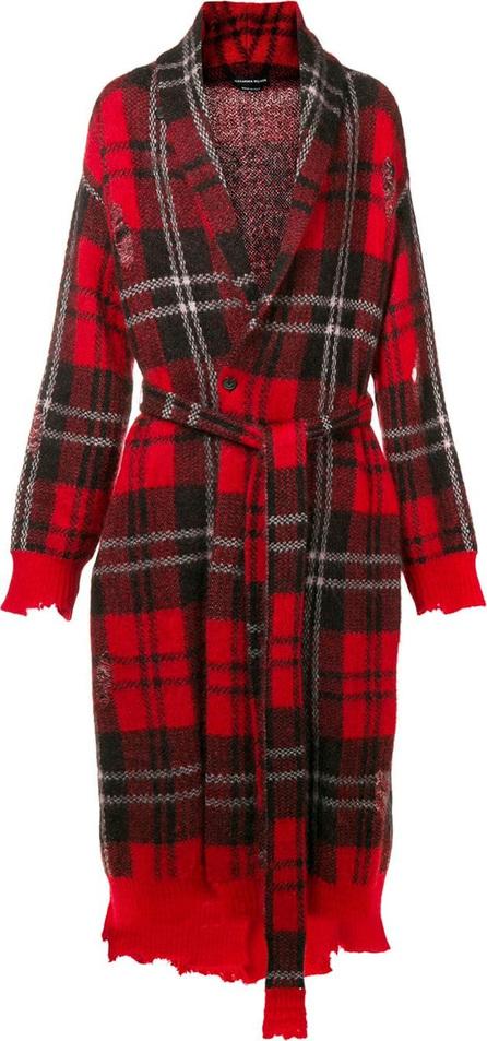 Alexander McQueen Distressed tartan knit coat