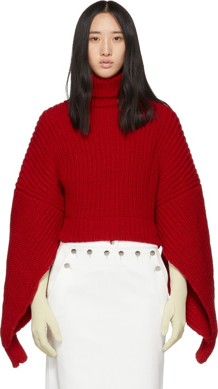 A.W.A.K.E Red Button Back Turtleneck
