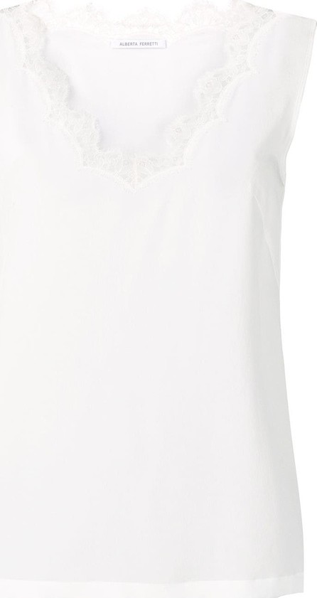 Alberta Ferretti Lace trim tank top