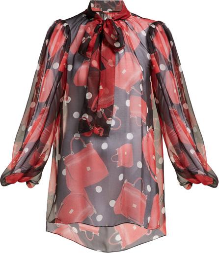 Dolce & Gabbana Sicily handbag-print tie-neck silk blouse