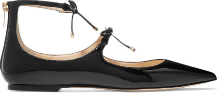Jimmy Choo Sage bow-embellished patent-leather point-toe flats