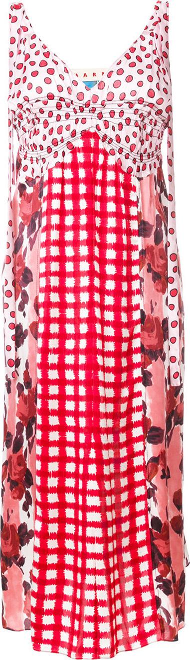 Marni Mixed-print midi dress
