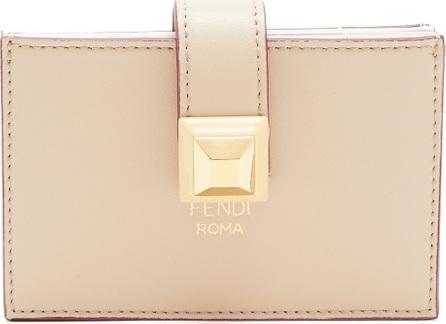 Fendi Stud-embellished expandable leather cardholder