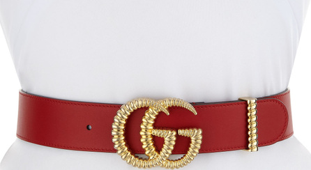"""Gucci Moon Leather Belt w/ Textured GG Buckle, 1.5""""W"""