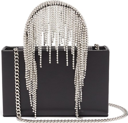 KARA Midi crystal fringe leather tote bag