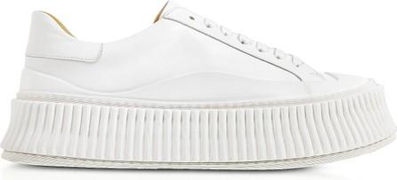 Jil Sander Pure White Leather Flatform Sneakers