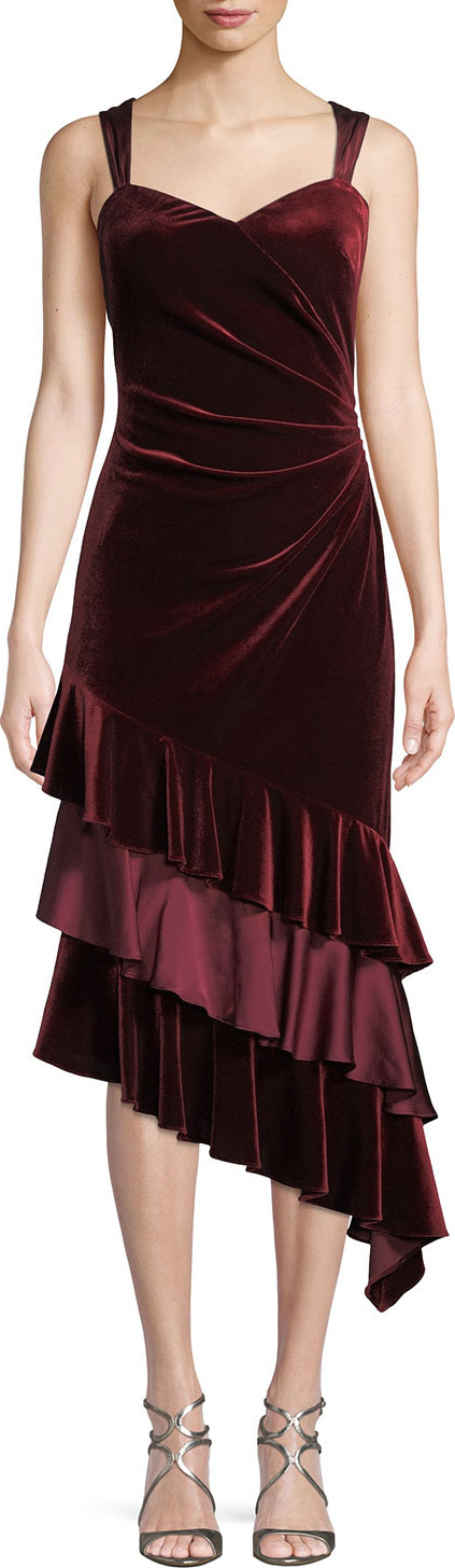 Aidan Mattox Velvet Cocktail Dress w/ Asymmetric Ruffled Tiers