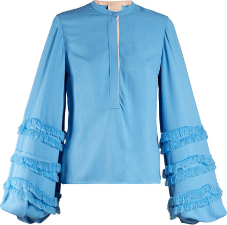 Roksanda Abeni frayed-detail balloon-sleeve crepe blouse