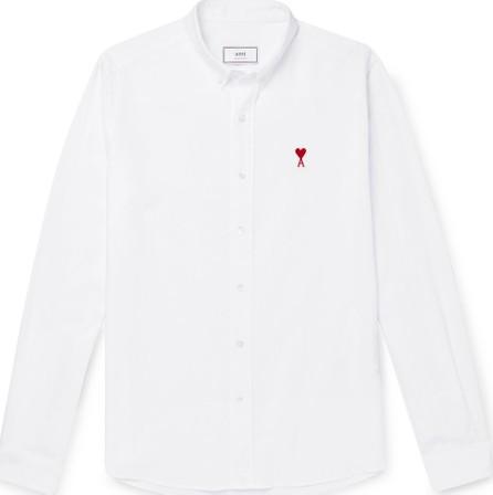AMI Slim-Fit Logo-Appliquéd Button-Down Collar Cotton Oxford Shirt