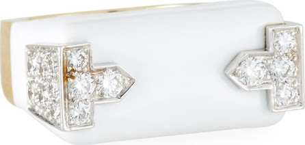 David Webb 18k White Enamel & Diamond Hero Ring, Size 6.5