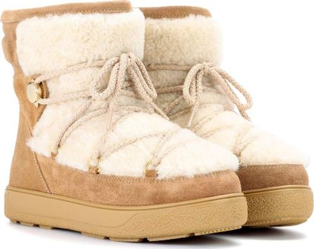 Moncler Shearling and suede ankle boots