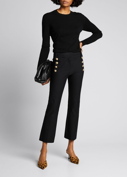 Derek Lam 10 Crosby Cropped Flare Trousers w/ Sailor Buttons  Midnight