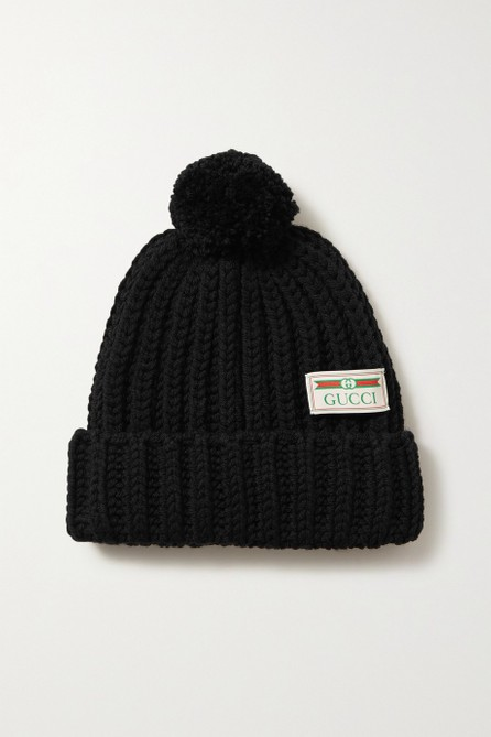 Gucci Pompom-embellished ribbed wool beanie