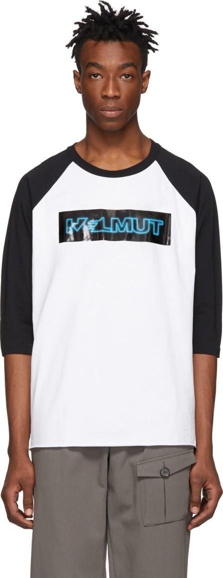 Helmut Lang White & Black Pigeon Three-Quarter Sleeve T-Shirt
