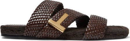 TOM FORD Grafton Woven Leather Slides