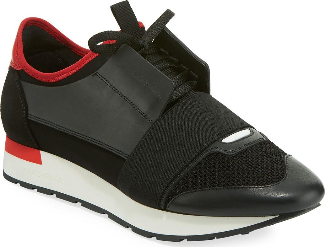 5fcc5e443bdc8 Balenciaga Men's Race Runner Mesh & Leather Sneakers, Black/Red - Mkt