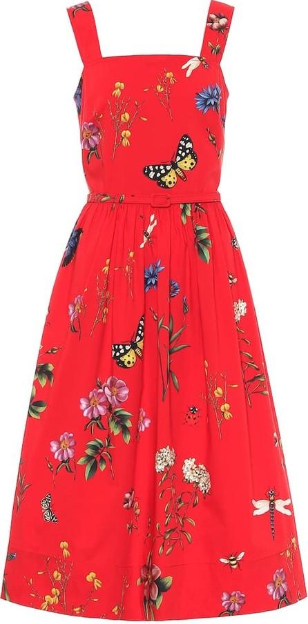 Oscar De La Renta Floral stretch-cotton dress