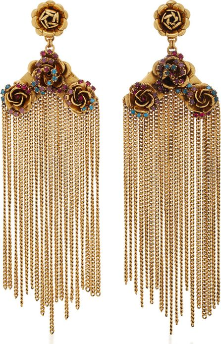 Erickson Beamon Vermeil Bouquet 24K Gold-Plated Crystal Fringe Earrings
