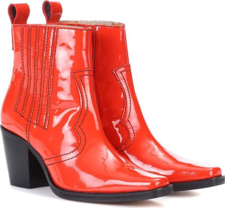 Ganni Callie patent leather ankle boots