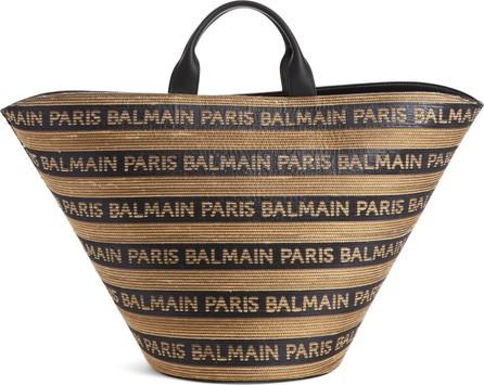 Balmain Raffia Basket Tote
