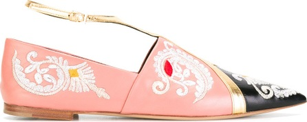 Etro embroidery trim slippers
