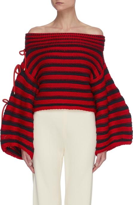 Hellessy 'Renata' contrast stripe off shoulder balloon sleeve knit sweater