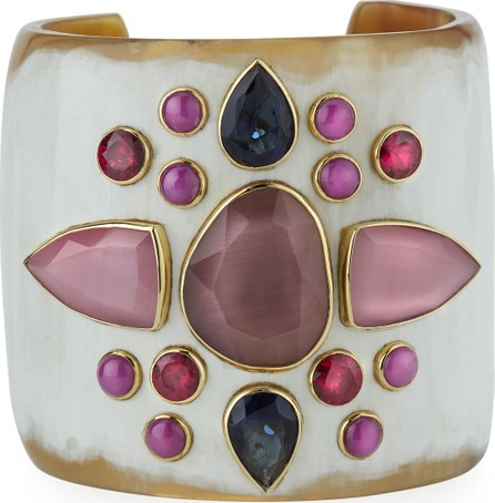 Ashley Pittman Sala Mixed-Stone Cuff Bracelet in Light Horn