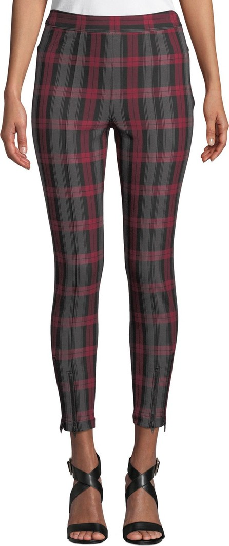 T By Alexander Wang Fitted Stretch Plaid Leggings with Zippers