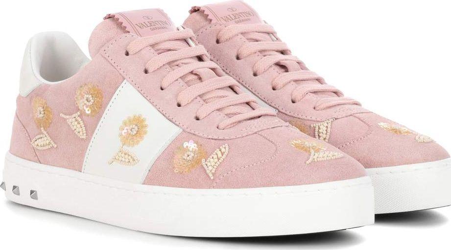 Valentino - Valantino Garavani embellished suede sneakers