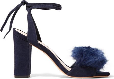 Loeffler Randall Nicolette faux fur-trimmed suede sandals