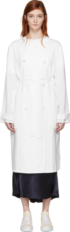 Acne Studios White Anghelica Trench Coat