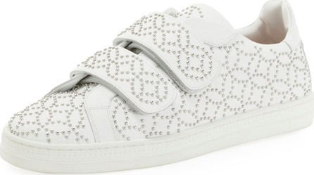 Alaïa Grip-Strap Leather Sneakers w/ Studs