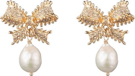 DANNIJO Vale Pearly-Drop Bow Earrings