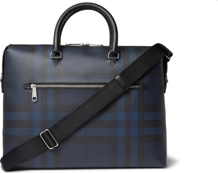 Burberry London England Checked Textured-Leather Briefcase