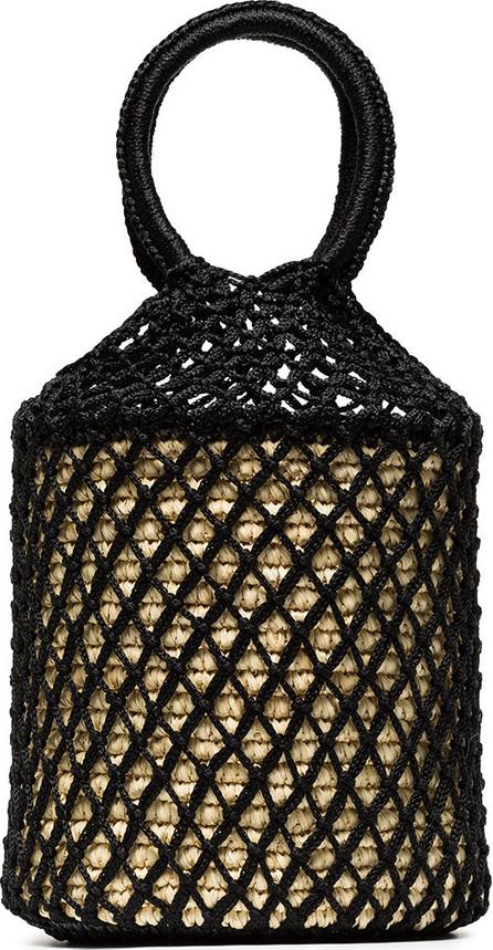Sensi Studio Black straw and net bucket bag